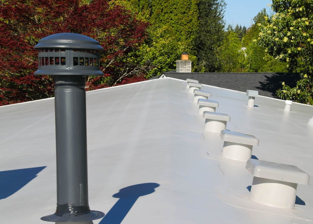 low slope pvc roofing replacement performed by valentine roofing in seattle washington