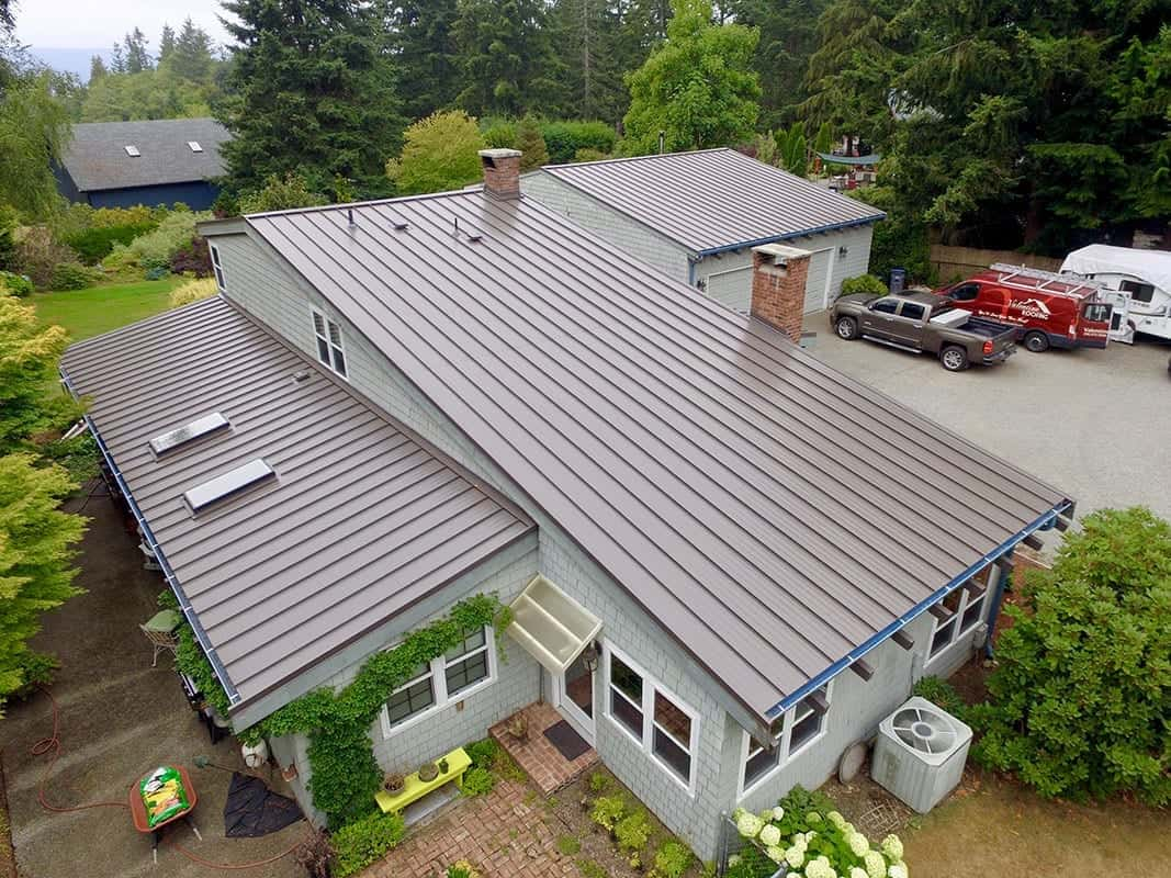Ariel view Kitsap County, WA metal roof, Vehicles including Valentine Roofing