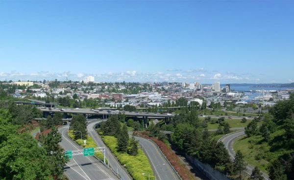 Tacoma WA aerial view of freeway, buildings, Commencement Bay