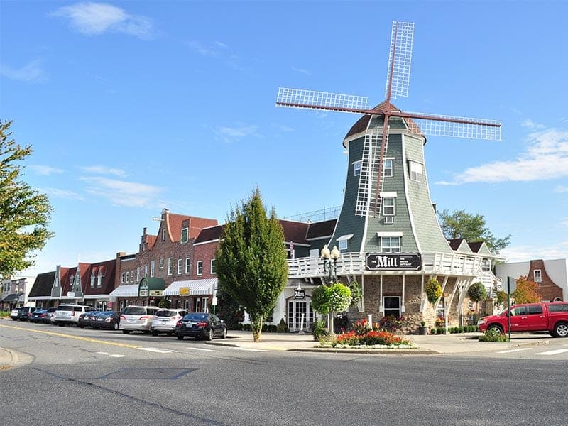 Street in Whatcom County, WA with Windmill centered around shops and parked vehicles.