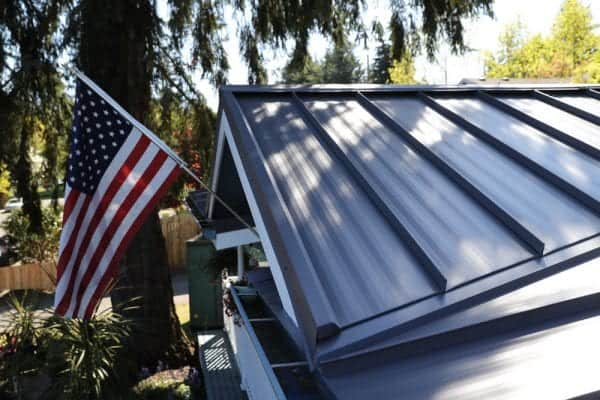 United States of America flag on a Metal Roof
