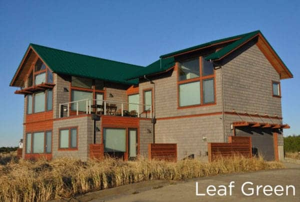 "New Metal ""Leaf Green"" Roof on a 2-story home"