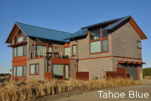 "New Metal ""Tahoe Blue"" Roof on a 2-story home"