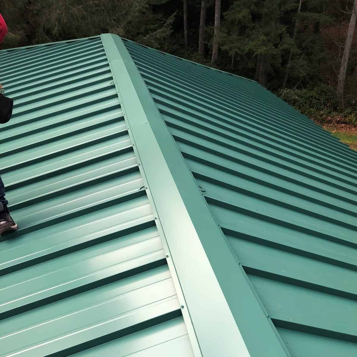 A new standing seam metal panel roof