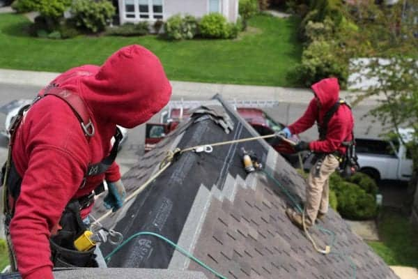 Two professional roofers wearing fully equipped tool belts and harnessed to safety ropes during a new composite roof replacement. A car and roofing truck, neighboring home in background.