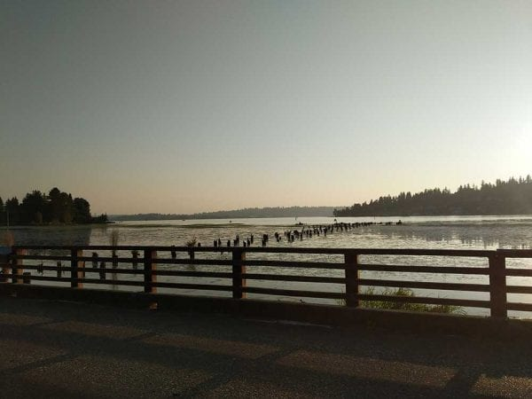 Looking out on the Lake Washington from a street in Kirkland, WA.