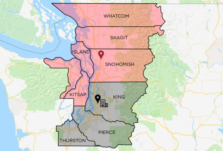 Map of Puget Sound, including King County, Pierce County, Thurston, Whatcom, Skagit, Snohomish, Island, Kitsap Counties
