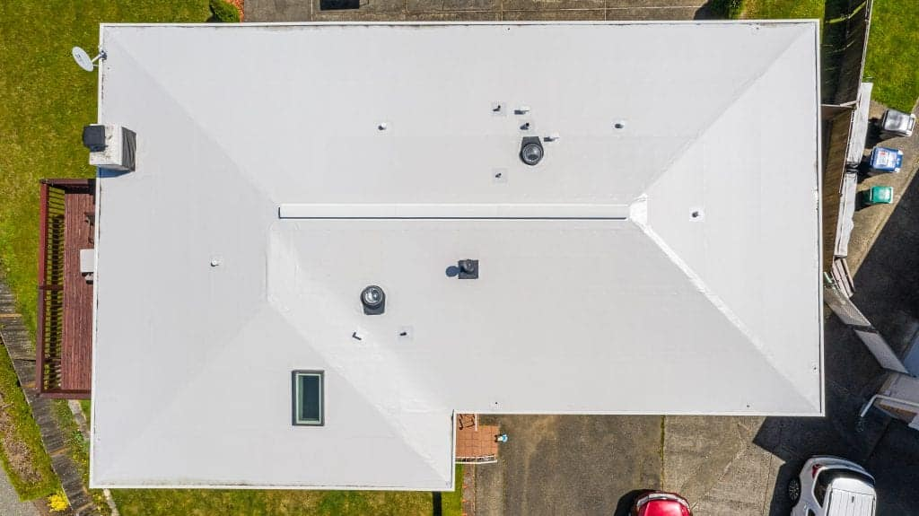 Aerial View of Modern Roof with Flat PVC Roofing - Seattle, WA - Valentine Roofing