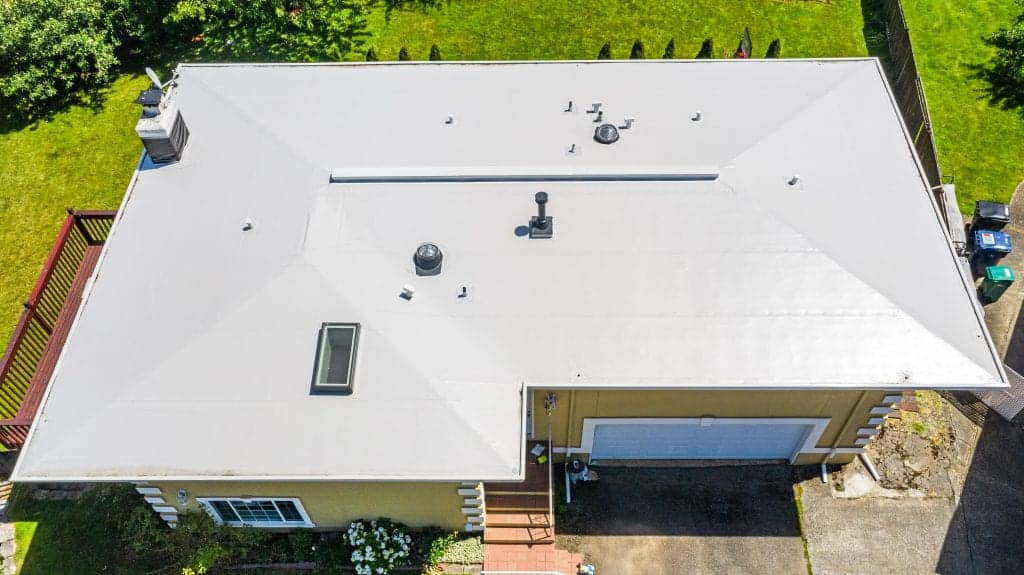 Photo of Aerial View of Modern Roof with Flat PVC Roofing in Seattle, WA
