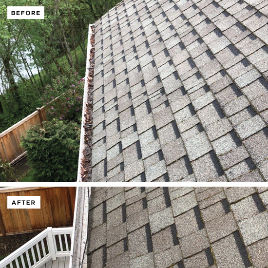 View of a roof and gutter on top of a house with a before and after view. The top side has grime in the gutter and the bottom is a clean gutter.
