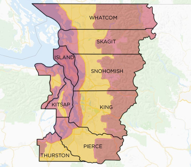 A map of Washington state with 9 counties highlighted. Including Whatcom, Skagit, Island, Snohomish, Kitsap, King, Pierce and Thurston county