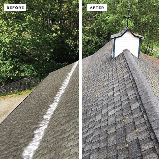 View of a composite roof on top of a house containing a before and after view. The right side is a clean roof and the left side is a dirty roof.