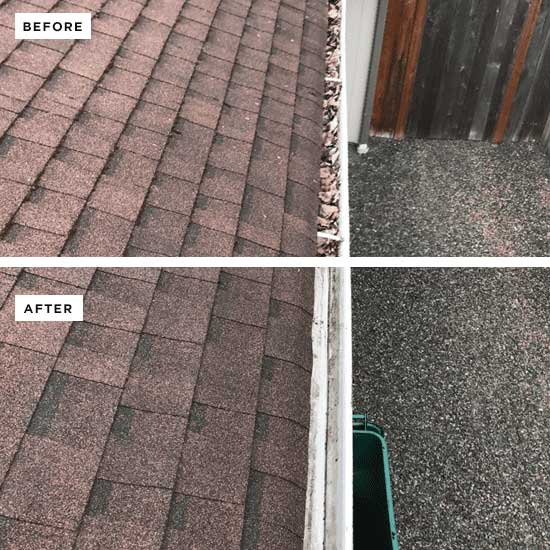 View of a roof and gutter on top of a house with a before and after view. The top side has leaves in the gutter and the bottom is a clean gutter.
