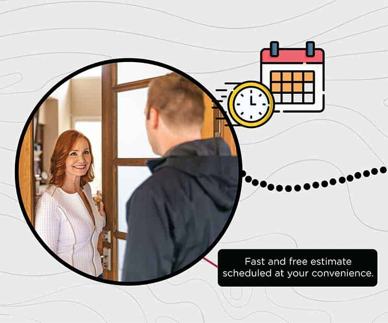 woman answering door with a man visitor. image surrounded by line drawing of clock and calendar.