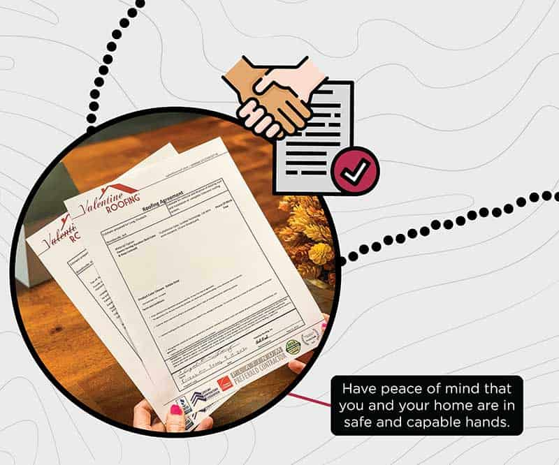 drawing of hand shake, document with check mark with a photo of hands holding Valentine Roofing documents.